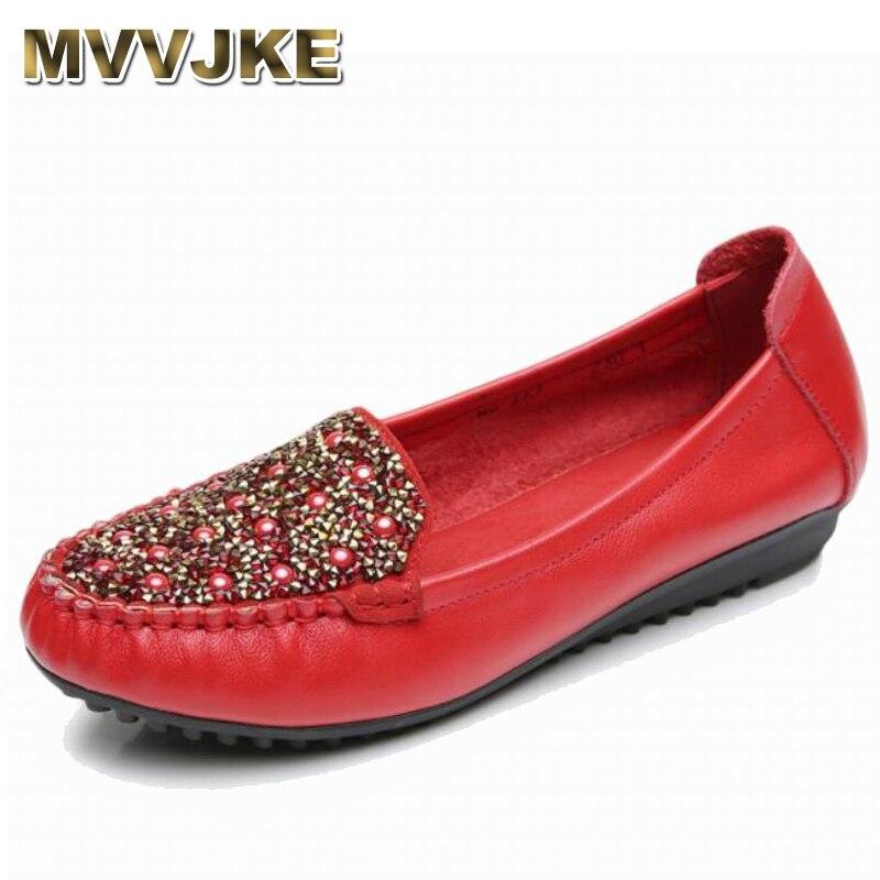 rouge E183 Semelle Casual En bleu Mvvjke Chaussures Mocassins Plat Confortable Doux Femmes Noir Mode Nouvelle Cuir Véritable 2018 Femme Cristal HBWqa6Bp