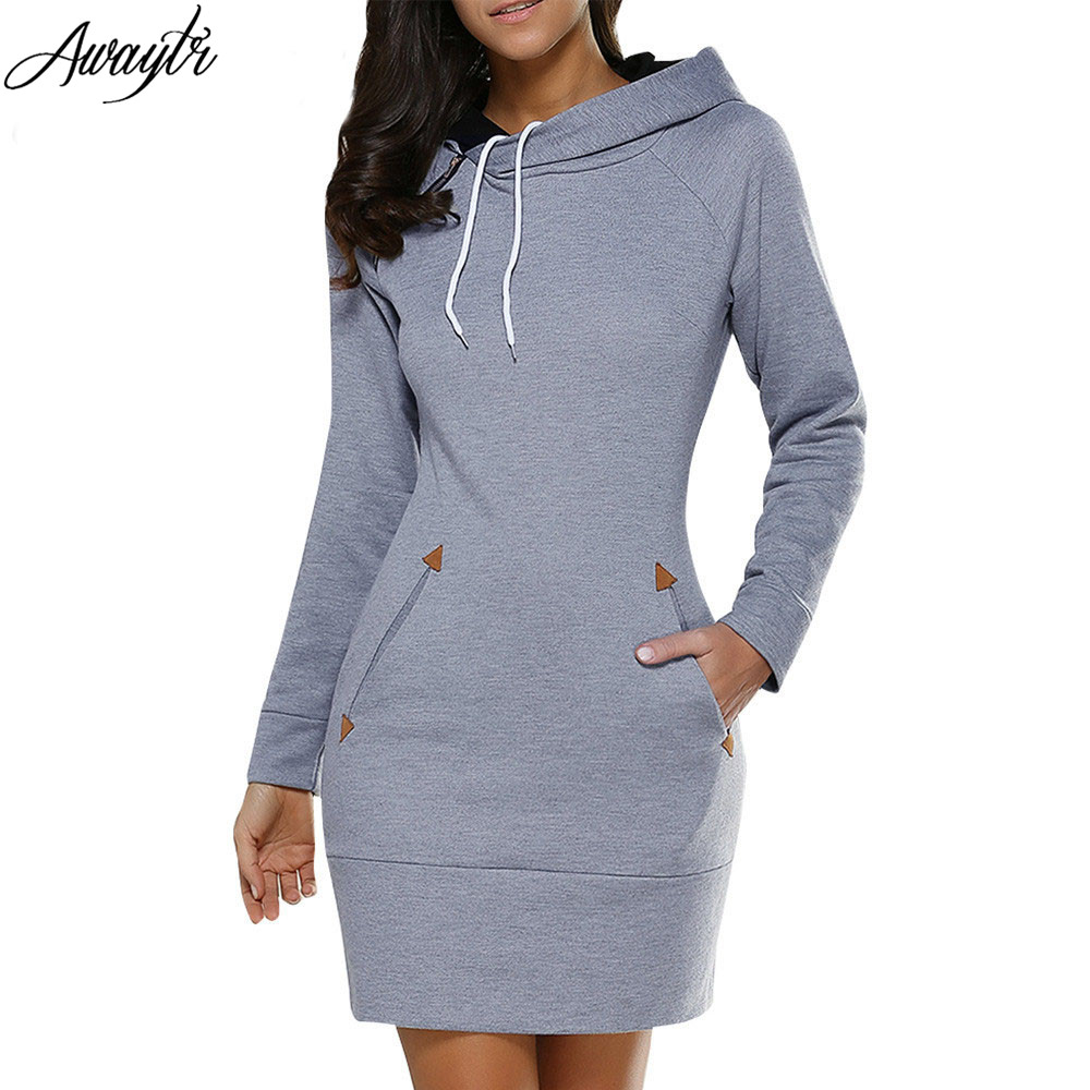 Awaytr Autumn Womens Casual Sweatshirt Dress Ladies Long Sleeve Hoodie Hooded Sweater Pullover Jumper Dress Vestidos femininos