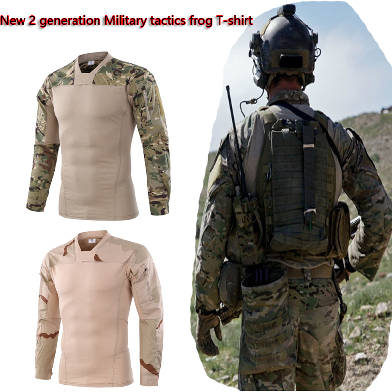 все цены на New 2 Generation Military Tactical Frog Protection T-shirt Outdoor Sports Breathable Camo Hunting training Shirt Clothing