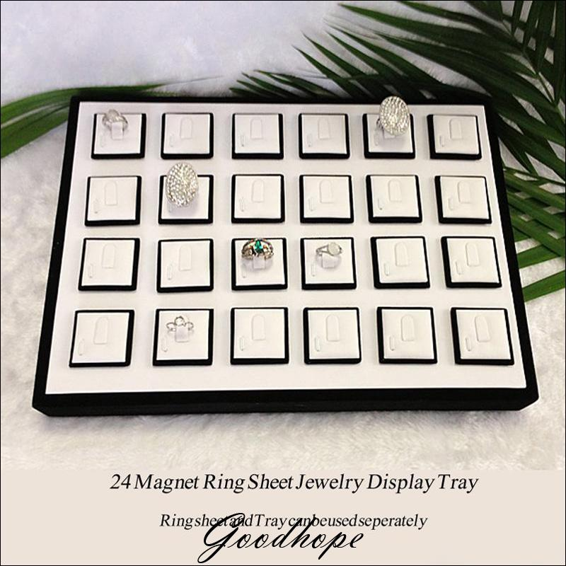 Portable blanc Faux cuir et noir anneau présentoir unité plateau 20 anneaux magnétiques porte-bijoux magasin comptoir organisateur Case