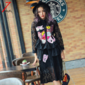 2017 новых женщин милый черный мультфильм leopard блестки кружева dress длинным рукавом стенд шея элегантный dress