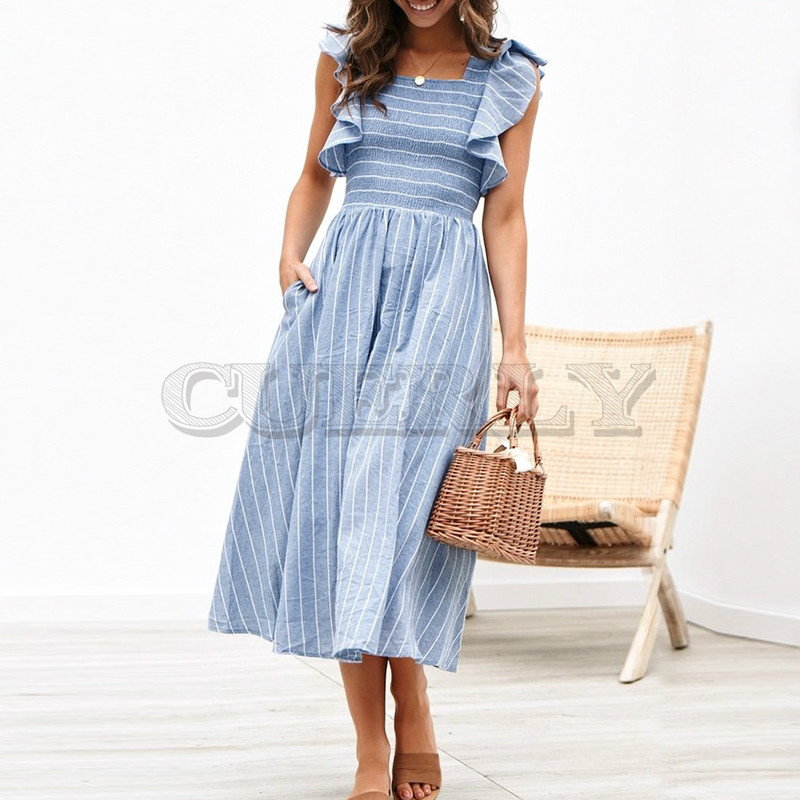 CUERLY Vintage striped women long dress Ruffle linen blue elegant summer 2019 Casual cotton fashion female beach