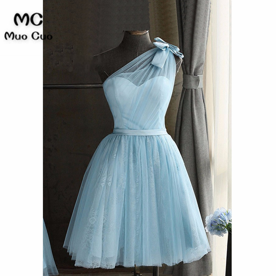 8d9e0a201c New 2018 One Shoulder Homecoming Dresses Short with Bow Above Knee Mini  Homecoming Cocktail Graduation Party