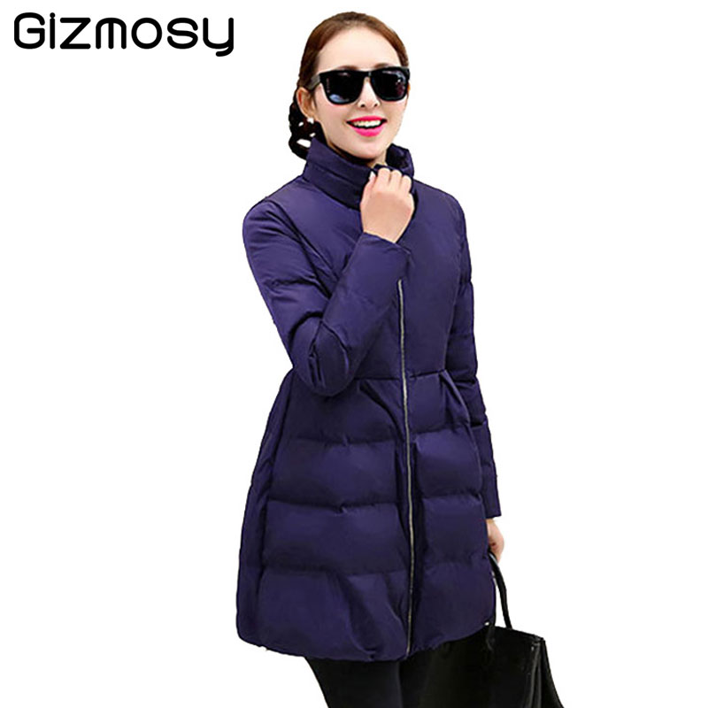 Winter Coat Women Stand Collar Female Casual Warm Jacket Slim Cotton-Padded Long Wadded Parka A-line Outwear High Quality BN1287 high quality thickening warm parka hooded women winter jacket snow wear female long slim winter cotton padded wadded coat cm1490