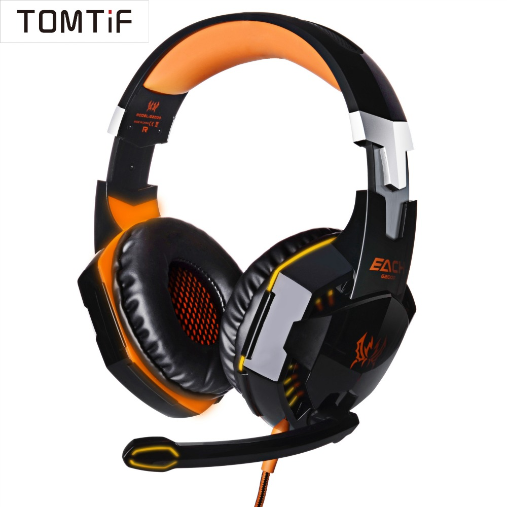 TOMTIF Over Ear Wired Headphones Gaming ps4 Headset LED Light for PC Game Stereo Bass Headphone Headband Cushion with Microphone