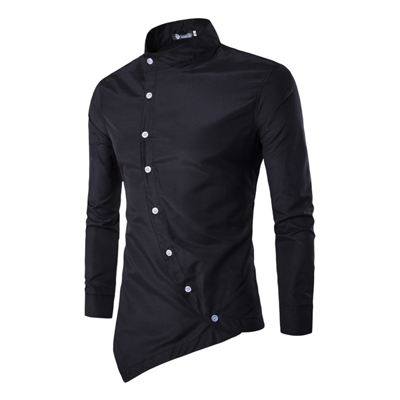 Brand 2017 Spring Dress Shirts Mens Polka Irregular Shirt Slim Fit Male Shirts Long sleeve Men
