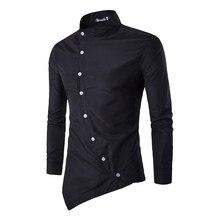 Бренд 2017 весеннее платье рубашки мужские в нерегулярные рубашка Slim Fit мужской рубашки с длинным рукавом рубашки Slim нерегулярные Стенд воротник