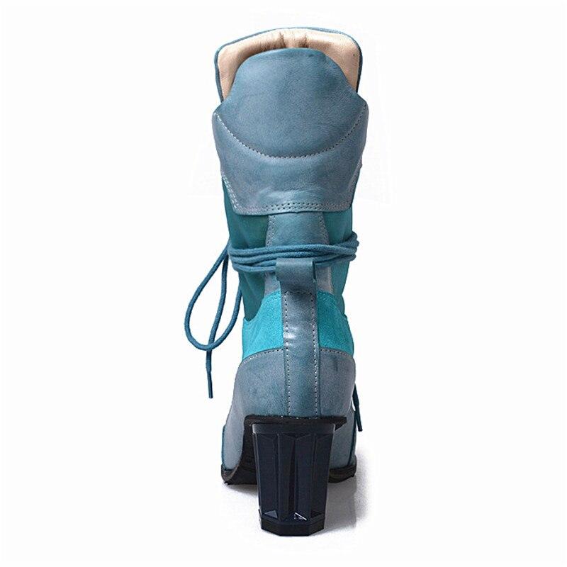 Jady Rosa 2020 di Inverno Lace Up Delle Donne Della Rappezzatura Della Caviglia Stivali in Pizzo Up di Alta Tacco Dello Stivale Confortevole di Alta Top Equitazione Botas pompe Delle Donne - 4