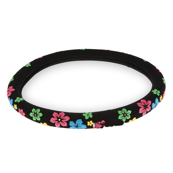 AUTO -Flannelette Steering Wheel Cover with Multicolor Flowers