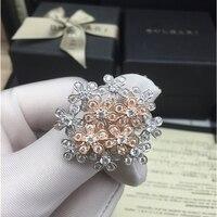 Luxury Micro Flower 100 925 Sterling Silver Druzy Flower Luxury Adjustable Ring For Women Wedding Drop