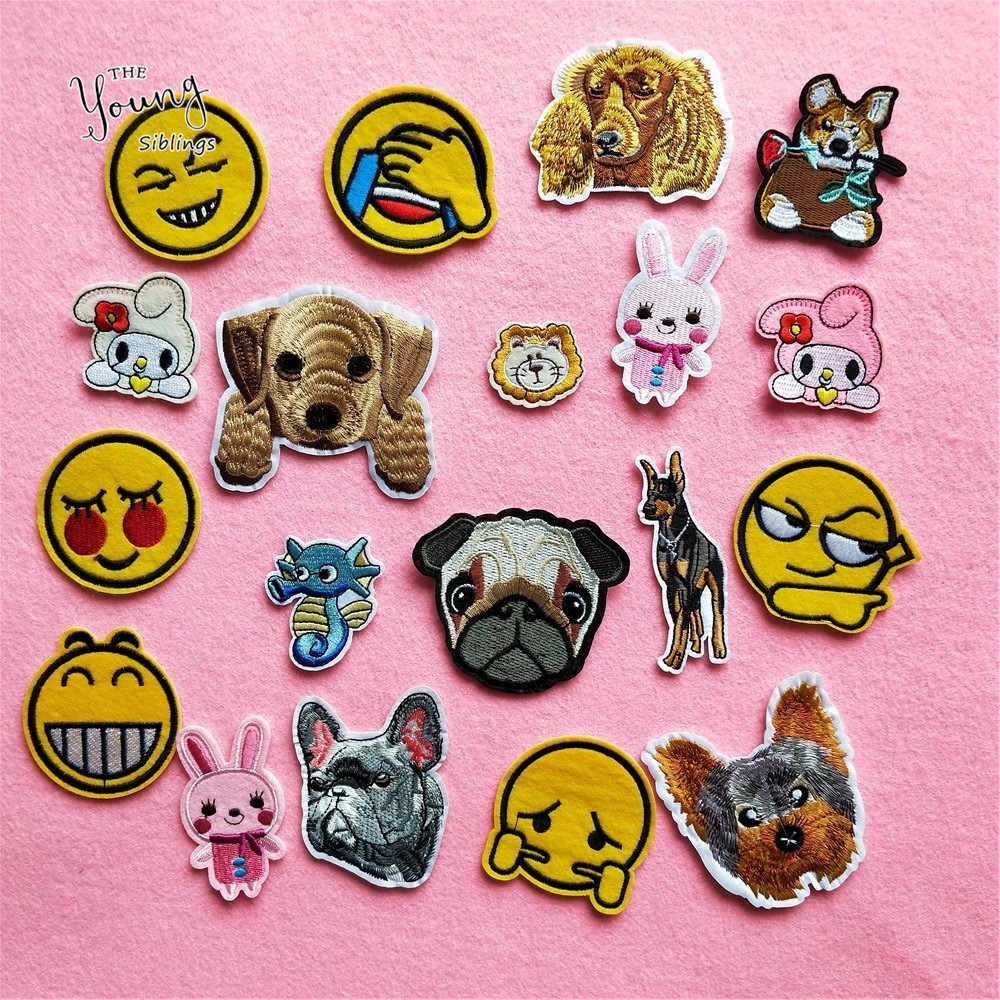 Hot sale Cartoon Embroidery Dog Rabbit Hot melt adhesive patches iron on clothes Face Stickers badge DIY Jeans Hat Accessories