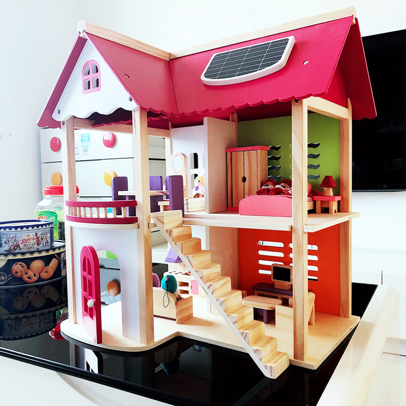 55 37 52cm Kids Wooden Doll House Pretend Toy Wooden Doll Villa with Doll Furniture and