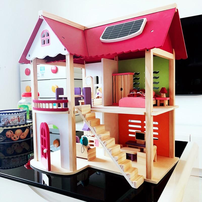 Oyuncaklar ve Hobi Ürünleri'ten Oyuncak Bebek Evleri'de 55*37*52cm Çocuklar ahşap bebek evi Oyuncak Pretend Ahşap Bebek Villa Bebek Mobilya Kızlar için doğum günü hediyesi'da  Grup 1