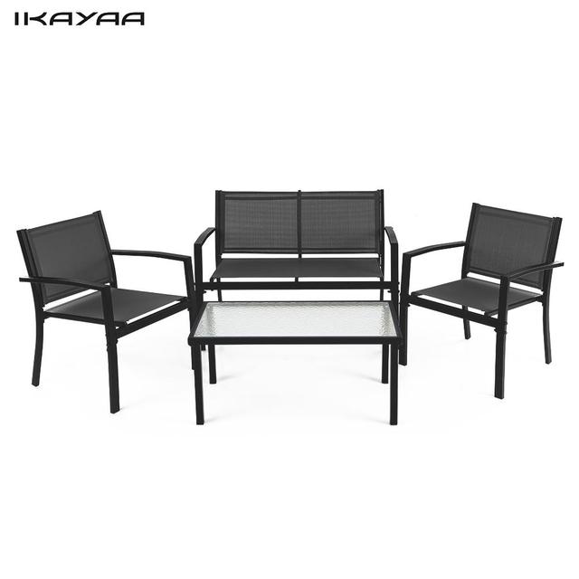 IKayaa 4 STÜCKE Terrasse Gartenmöbel Set Veranda Sofa Stühle Tisch ...