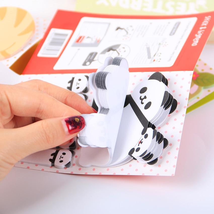 1 pièce bloc-Notes Animal chat Panda mignon Kawaii bloc-Notes mémo fournitures scolaires planificateur autocollants signets en papier