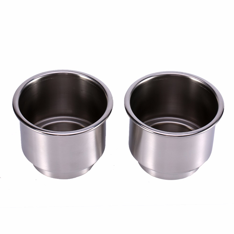 2Pcs Stainless Steel Boat Yacht Car Recessed Cup Bottle Holder with Drain