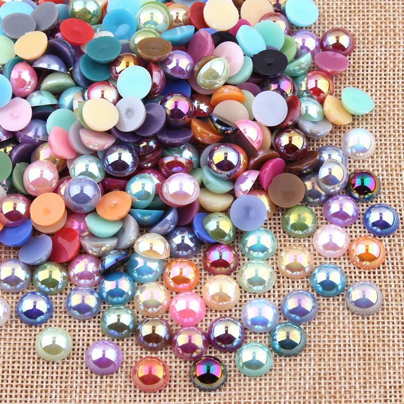 100Pcs/Lot ABS Resin Dome Cabochons Imitation Pearl 10mm Round Flat Back Beads DIY Jewelry Making Findings Handmade Components