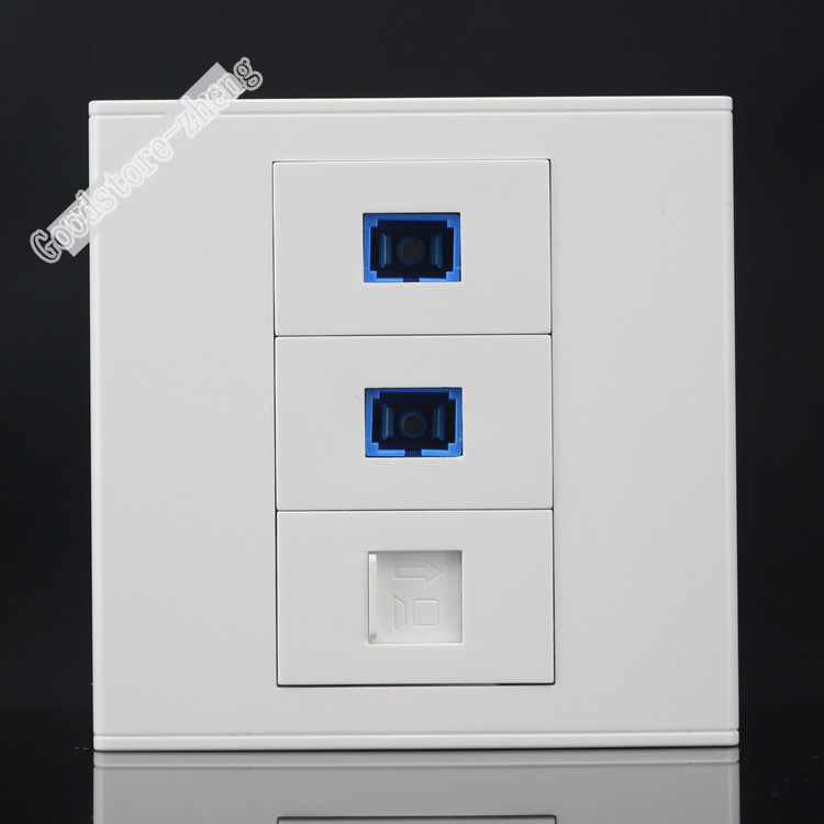 Wall Socket Plate 3 Port Dual SC Opitcal Fiber Jack Connector & Cat5e RJ45 Network Lan Panel Faceplate Outlet Wholesale Lots atlantic brand double tel socket luxury wall telephone outlet acrylic crystal mirror panel electrical jack