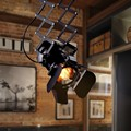 Loft RH Rural Industrial Lift Ceiling Lamp Bar Clothing Personality Retro Track Light Vintage Absorb Dome Light with E27 Bulb
