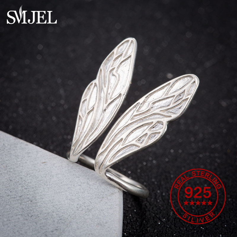 SMJEL 100% 925 Sterling Silver Rings Resizable Angel Wings Rings Fashion Korean Rings For Women Party Ring Ajustable