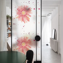 New Beautiful Flowers Modren Decor for Home Glass Film Window Pegatinas Para Ventana Living Room Decoration