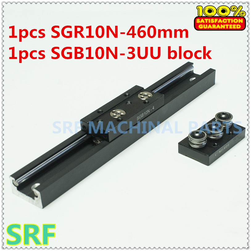 High quality Aluminum Square Roller Linear Guide Rail 1pcs SGR10N Length=460mm +1pcs SGB10N-3UU three wheel slide block high rigidity roller type wheel linear rail smooth motion belt drive guide guideway manufacturer