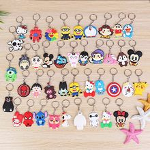 Avengers Keychain Hello kitty Pikachu Spider Man Batman Key Ring Japanese anime Holder Chaveiro Key Chains Bag Jewelry charms(China)