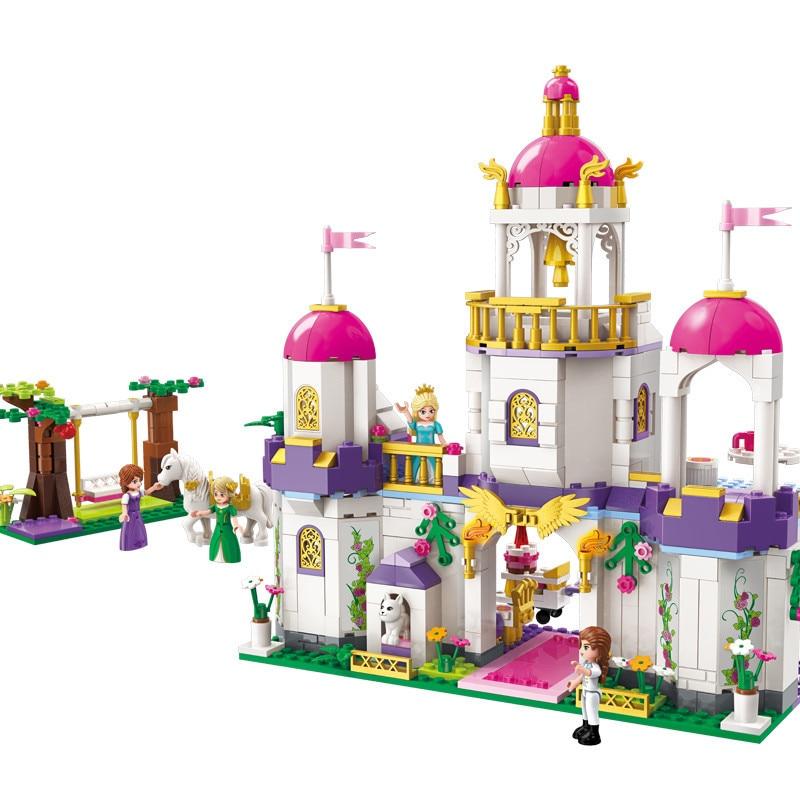 587pcs Children s educational building blocks toy Compatible city girl friends Leah Birthday Dinner Castle Villa