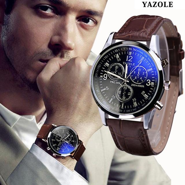 Reloj de marca de lujo Yazole para hombre, reloj de cuarzo, reloj de cuero de moda, reloj de pulsera deportivo barato, reloj de pulsera para hombre