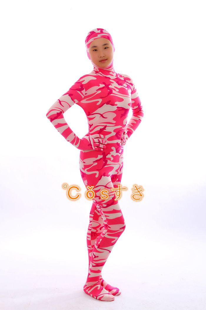 Free Shipping! Rose Red Camouflage Lycra Spandex Open Face Zentai Suit Halloween Cosplay Costume ,Perfect Custom For you!