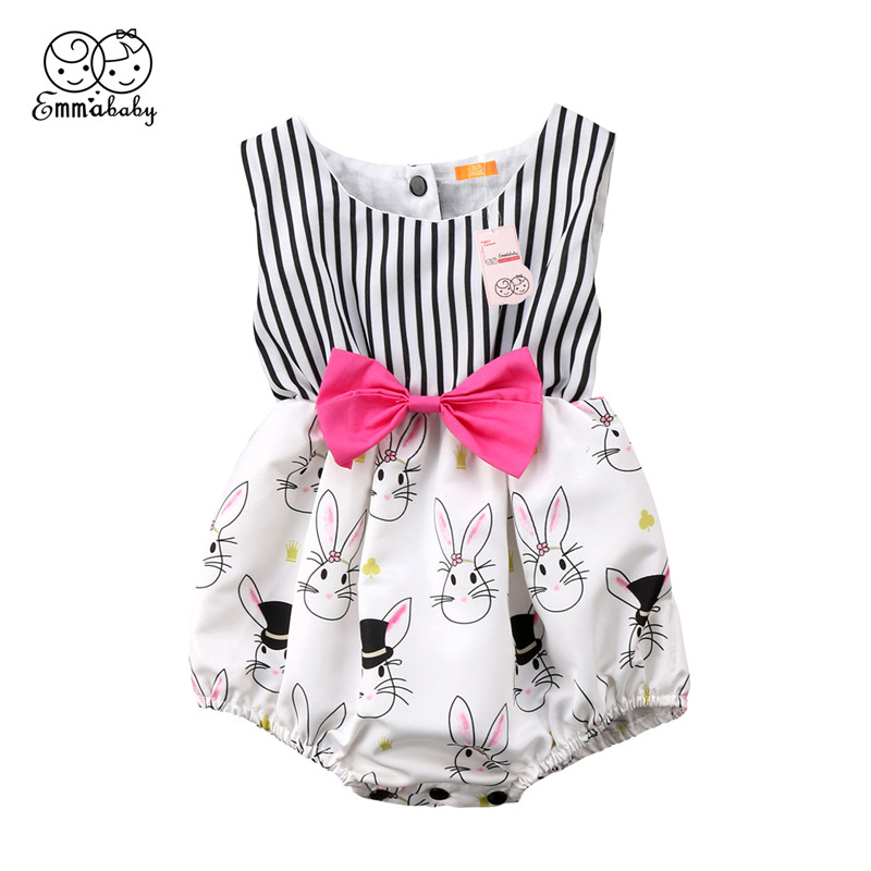 Easter Baby Clothing Summer Newborn Baby Girls Bowknot Sleeveless Bodysuit Striped Fashion Jumpsuit Easter Bunny Bodysuit 0-24M