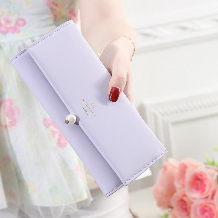 High capacity Long Fashion Female wallet Women New Hot Europe Simple Multi-card bit Pearl buckle High quality wallet lady letter