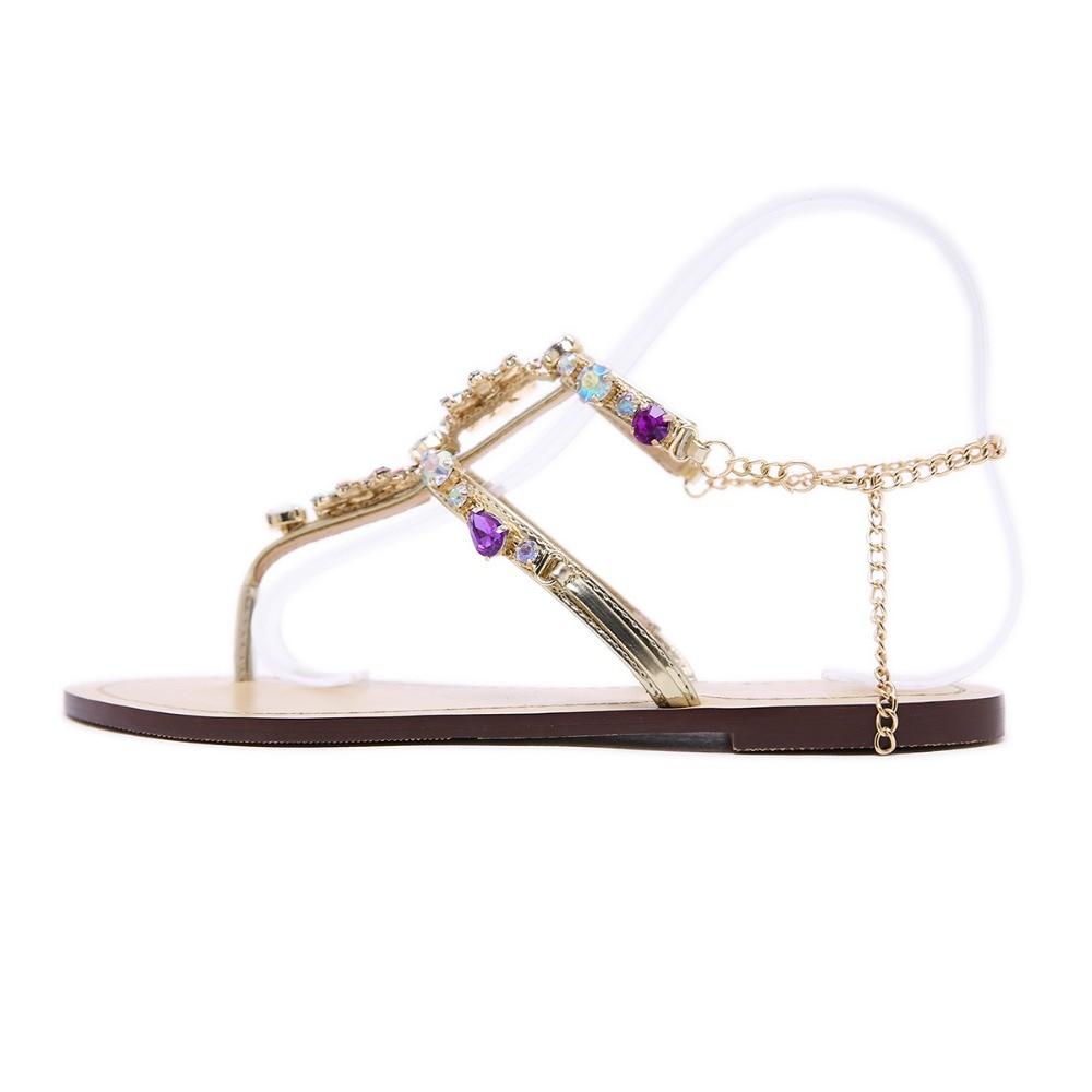 HTB1oLoaborrK1RkSne1q6ArVVXao 6 Color Woman Sandals Women Shoes Rhinestones Chains Thong Gladiator Flat Sandals Crystal Chaussure Plus Size 46 tenis feminino