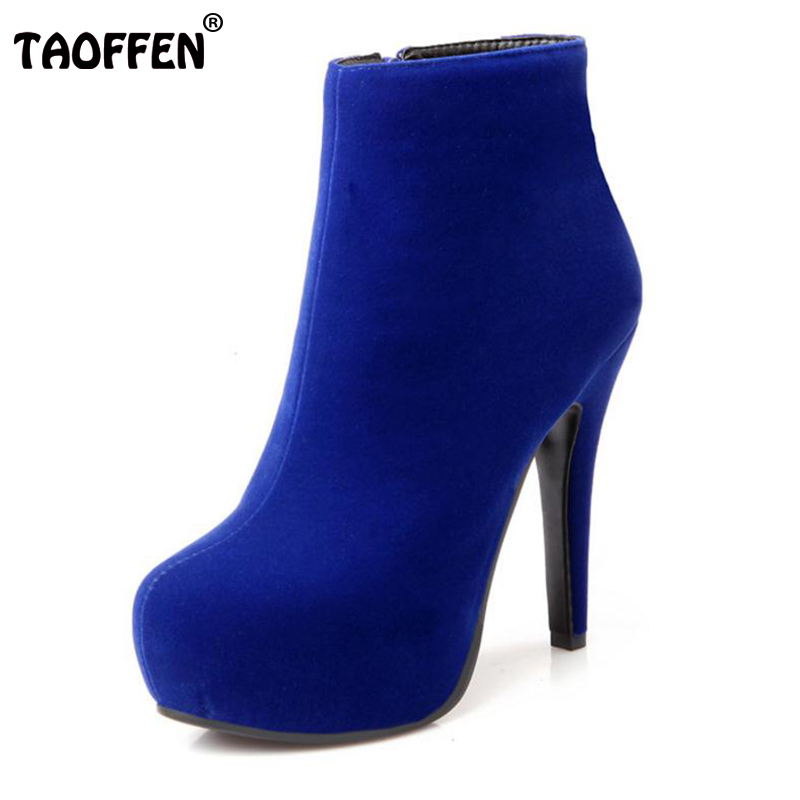 TAOFFEN Women Ankle Boots High Heel Platfoms Winter Botas Sexy Warm Fur  Ladies Boot Heels Footwear Shoes P15367 EUR Size 31-45 7264ff40b8a3