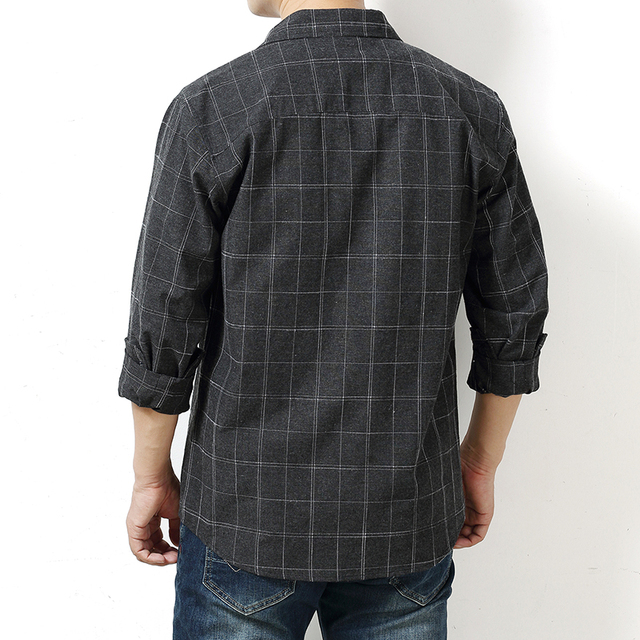 Autumn Plaid Cotton Long-Sleeved Men's Shirt 3