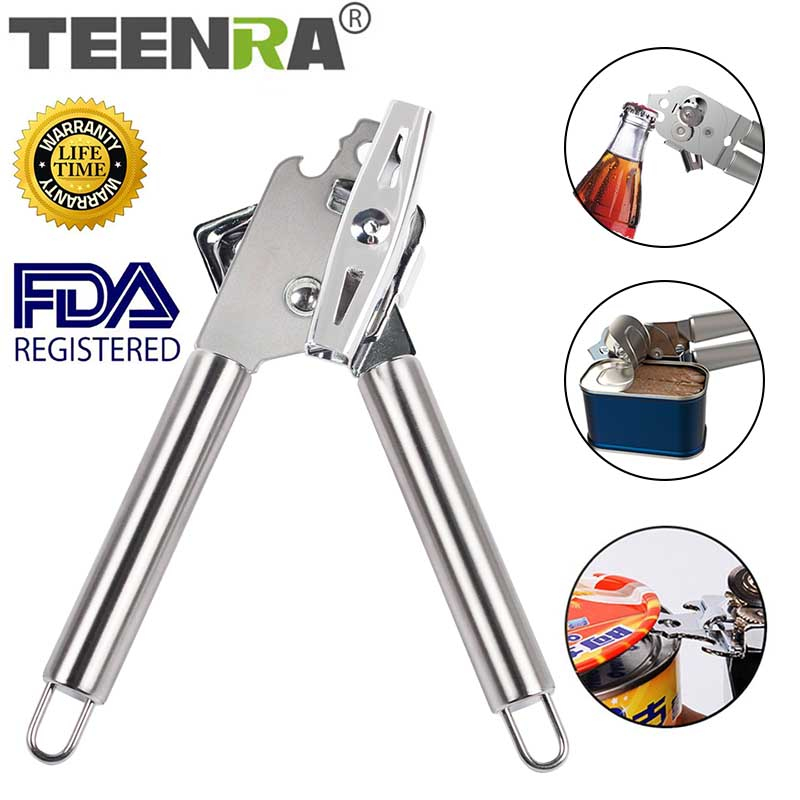 TEENRA 1Pcs Multifunction Can Opener Stainless Steel Bottle Opener Food Can Manual Can Opener For Beer Bottle Kitchen Tools