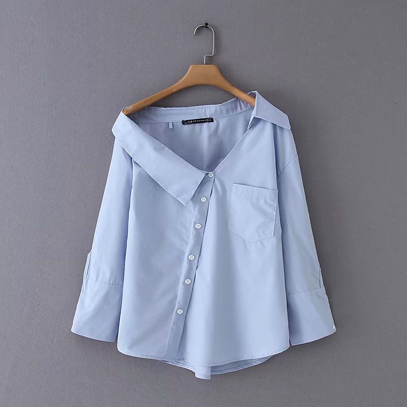 2019 New Women Fashion Irregular Turn Down Solid Color Casual Blouse Shirts Women Off Shoulder Femininas Blusas Chic Tops LS3811