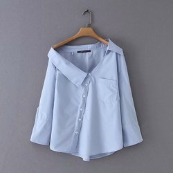 2019 nieuwe vrouwen mode onregelmatige turn down effen kleur casual blouse shirts vrouwen off shoulder femininas blusas chic tops LS3811
