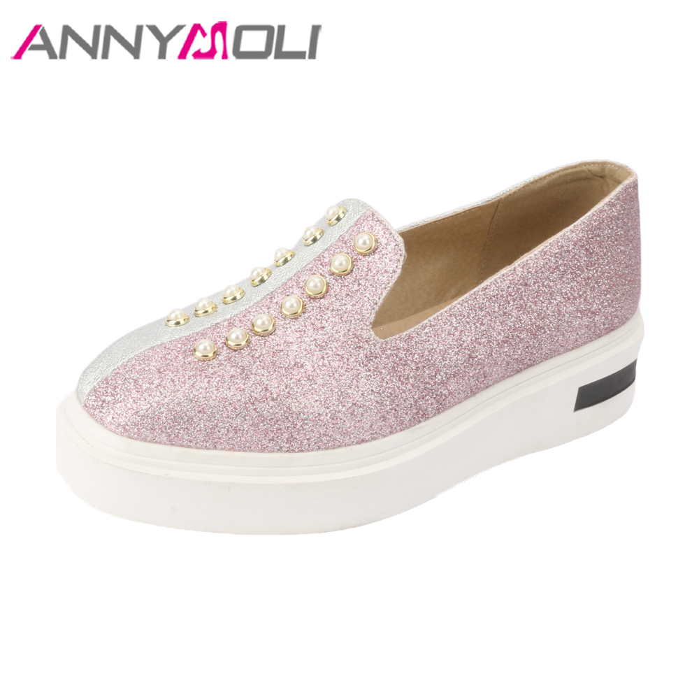 ANNYMOLI Spring Shoes Women Creepers Flat Platform Loafers 2018 Shoes Sneakers Pearls Square Toe Slip On Shoes Purple Size 34-43 qmn women genuine leather flats women horsehair loafers retro square toe slip on flat platform shoes woman creepers 34 42