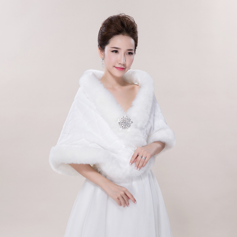 Image 3 - Winter Wedding Shawl For Bride White Fax Fur Wedding Wrap  Cape With Crystals Bridal Jackets Wedding CoatsWedding Jackets / Wrap   -