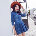 Fashion woman denim short dresses solid blue color casual jeans dress autumn spring vintage above knee full sleeve fashion dress