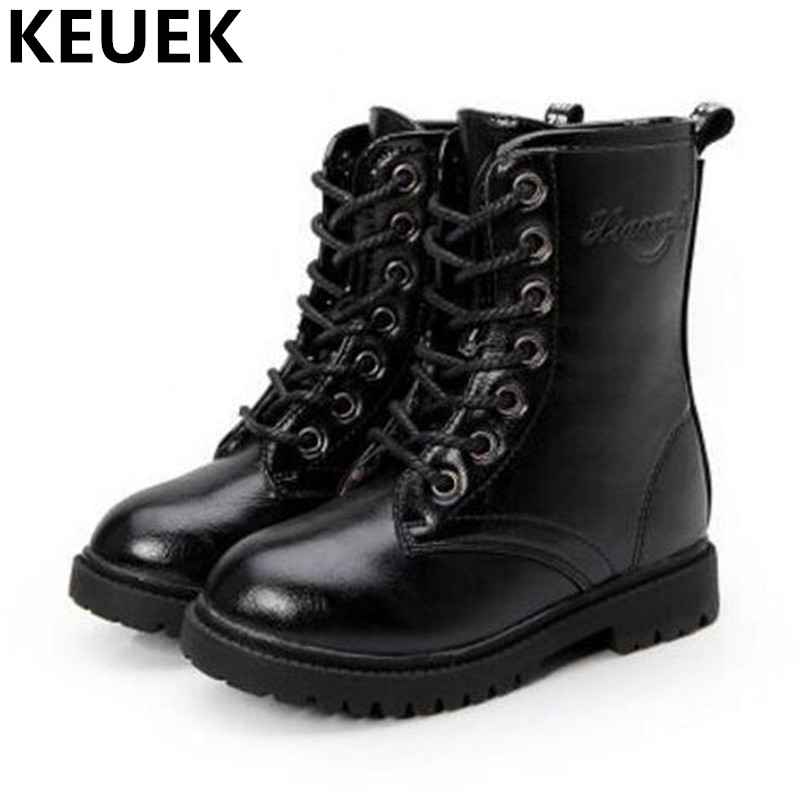 NEW Spring/Autumn Leather Boots Children Shoes Boys Girls Mid-Calf Casual Motorcycle Boots Baby  Flat High Boots Kids 03
