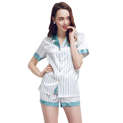 Fashion Women   Pajamas     Sets   Summer Striped   Pajama   Turn-down Collar Sleepwear Shorts   Set   Female High Grade Nightgown Home Clothes