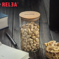 950ml Glass Storage Bottles Jar Food Sealed Cans With Bamboo Cover Large Capacity Tea Box R0033