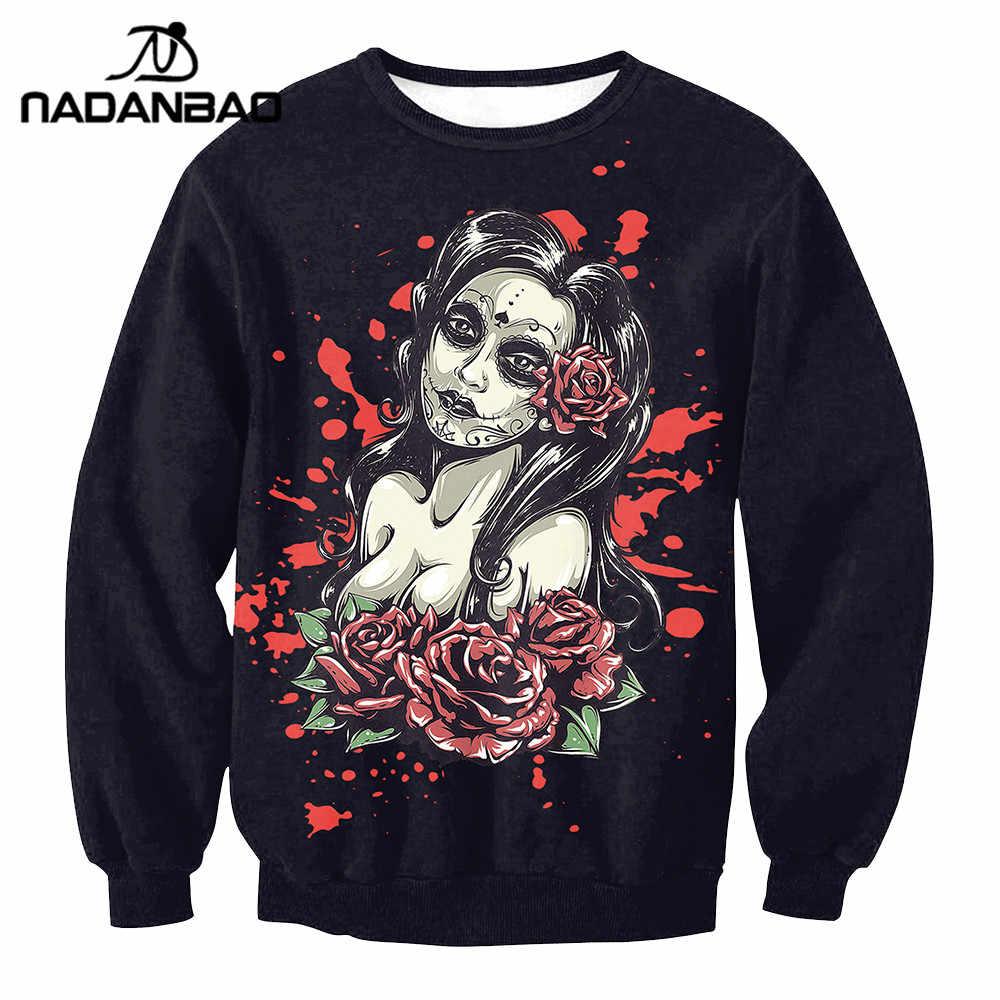NADANBAO брендовая Новая модная женская толстовка с капюшоном Толстовка с черепом и цветочным принтом для девочек цифровая Толстовка с принтом длинные свитера с длинным рукавом Mujer