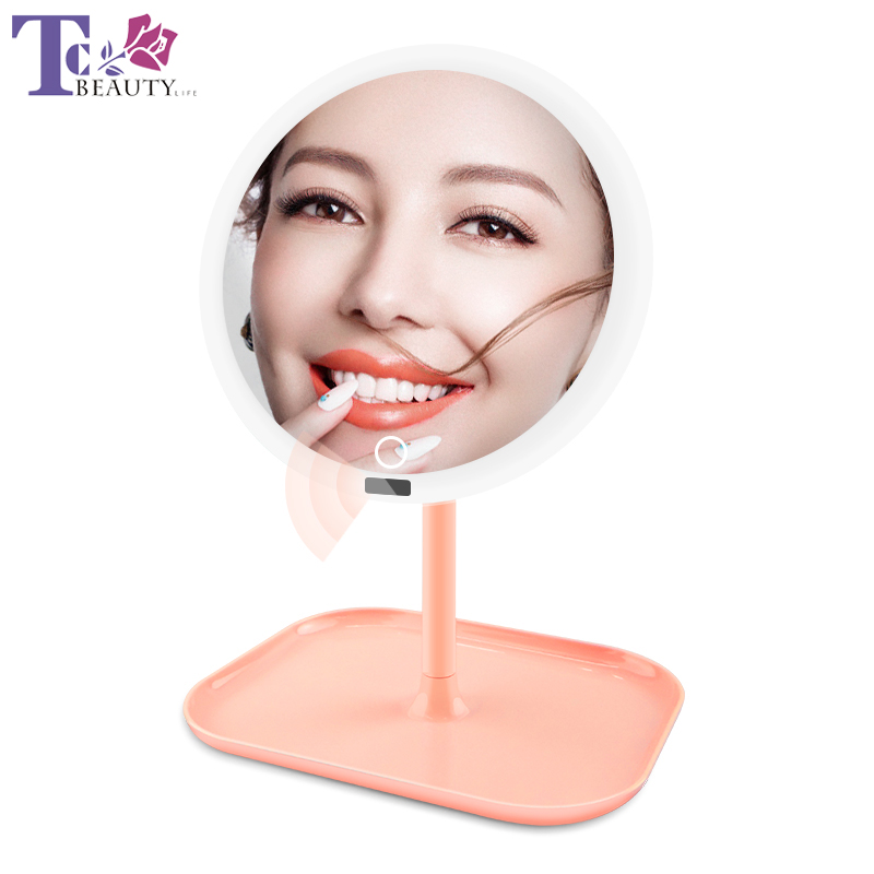 8 Inch LED HD Makeup Mirror Infrared Detection Rechargeable Brightness Adjustable Backlit Mirrors Lighted Vanity Mirror
