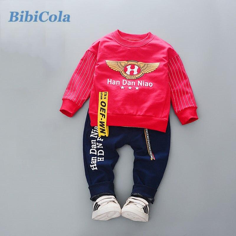 Bibicola/комплект одежды для маленьких мальчиков Infant Bebe спортивный комплект футболка + Брюки для девочек костюм комплект Для мальчиков ясельного возраста спортивный костюм в полоску детская одежда
