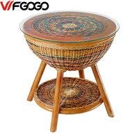 WFGOGO Furniture RattanColor Garden Outdoor Tables Indoor Outdoor Restaurant Stack Coffee Tables Weather Outdoor Patio