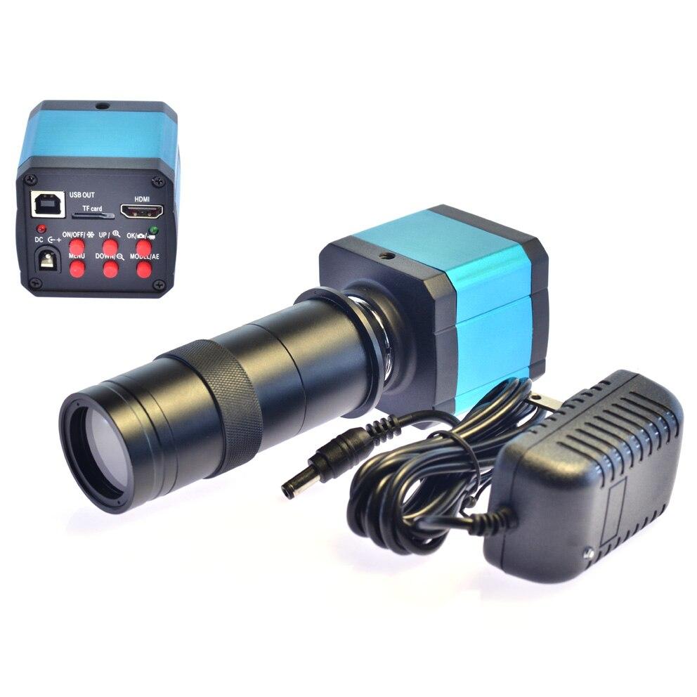 14MP HDMI usb HD L'industrie Vidéo Microscope Caméra Numérique Zoom1080p 60 hz Vidéo Sortie + 100X C-monture pour téléphone mobile de réparation