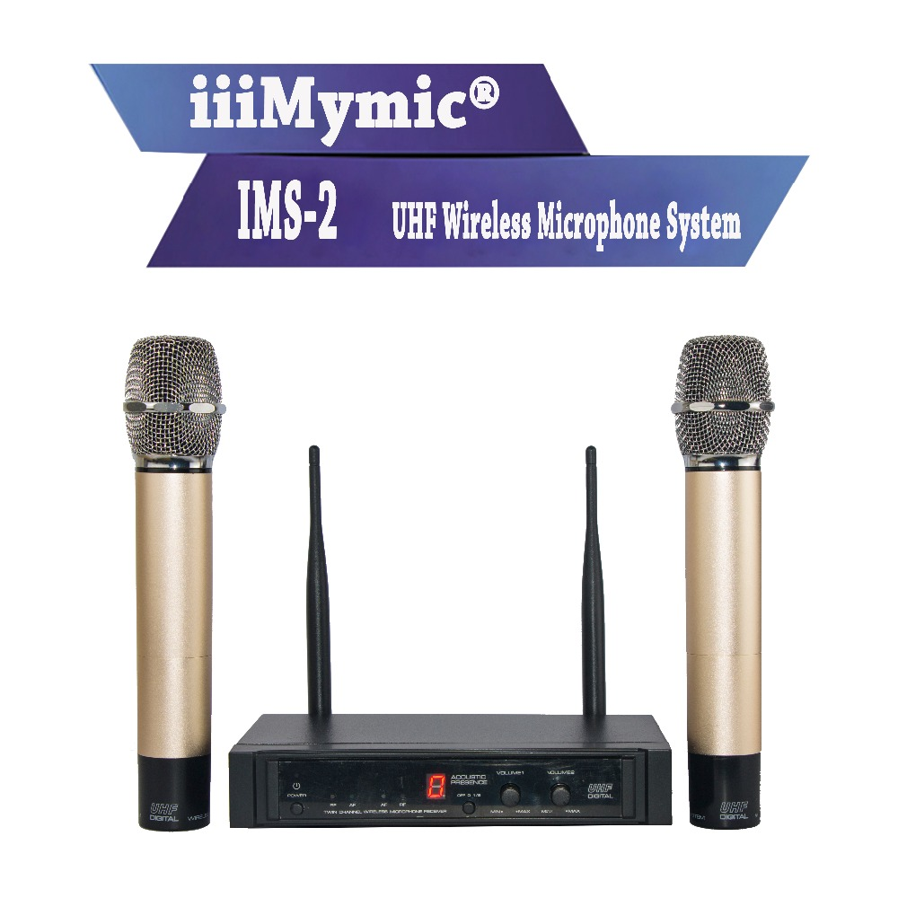 iiiMymic IMS-2 UHF Metal Wireless Microphone System with Sound Effect!! 50M Distance 2 Channel Handheld Mic for Karaoke Outdoor freeboss m 2280 50m distance 2 channel headset mic system karaoke party church uhf wireless microphones